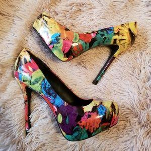 Steve Madden DeJavu Platform Pump Heels Floral
